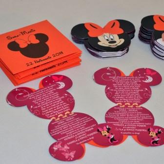 Invitatii personalizate Mickey si Minnie Mouse