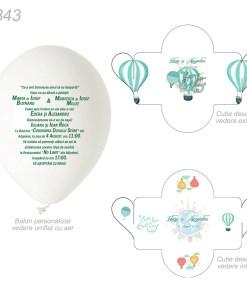 Invitatie Balon si Cutiuta, nuanta verde