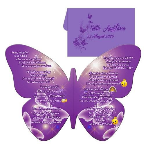Invitatie botez forma fluture mov