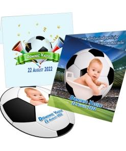 Invitatie botez cu magnet tematica minge fotbal stadion