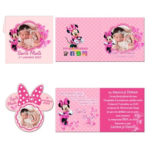 Invitatii botez model Minnie Mouse, 2 in 1 invitatie plus marturie magnet Minnie