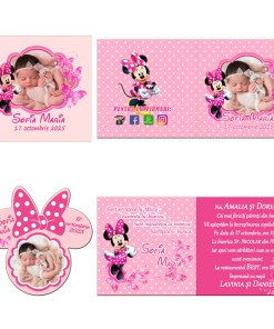 Invitatii botez model Minnie Mouse, 2 in 1 invitatie plus marturie magnet Minnie