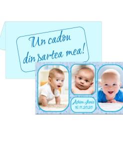 Marturii botez magneti cu plicuri bleu incluse, personalizate cu 3 fotografii
