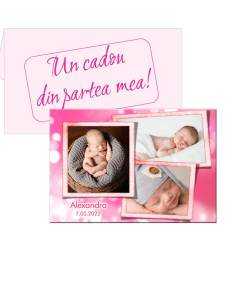 Marturie roz pentru botez, personalizata cu 3 poze, plic inclus