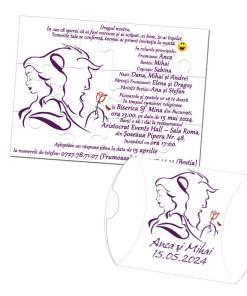 Invitatie pentru nunta puzzle 12 piese, tema Frumoasa si Bestia
