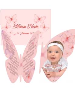 Invitatie botez fluture roz, personalizata cu fotografie si text