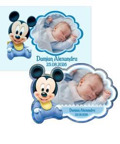 Marturii botez Mickey magneti PLASTIFIATI cu plicuri personalizate