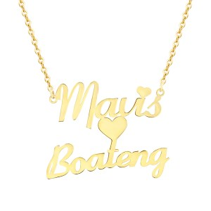 Personalized Double Name Necklace With Heart