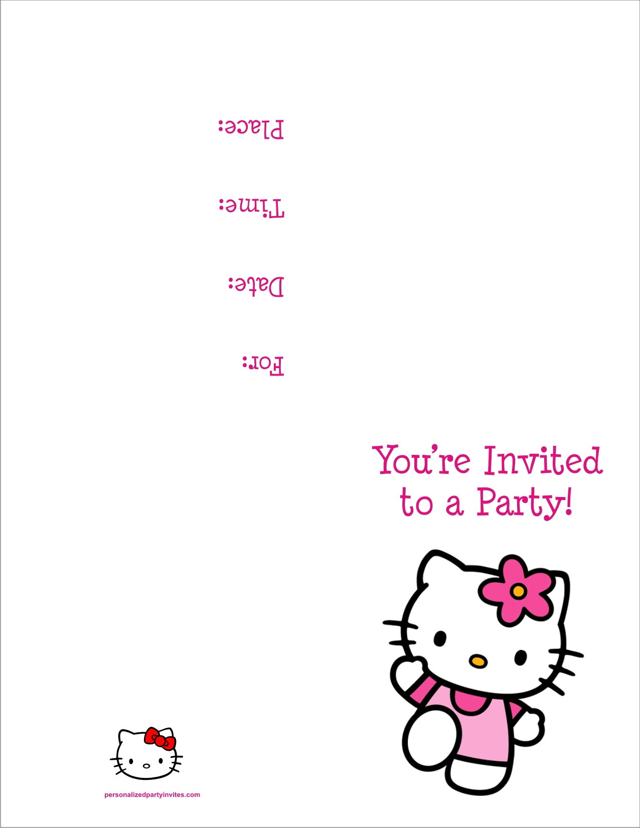 hello kitty free printable birthday party invitation personalized party invites