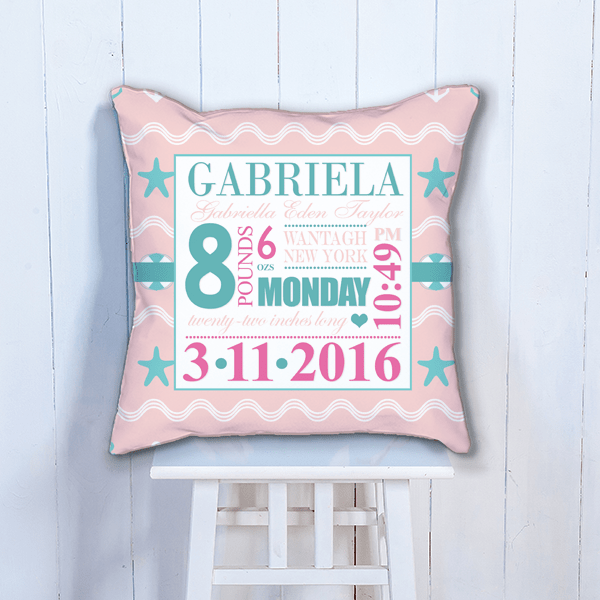 pink beach theme baby s big day personalized nursery throw pillow