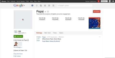Noch etwas dürftig - Unternehmensprofil von Pepsi auf Google+