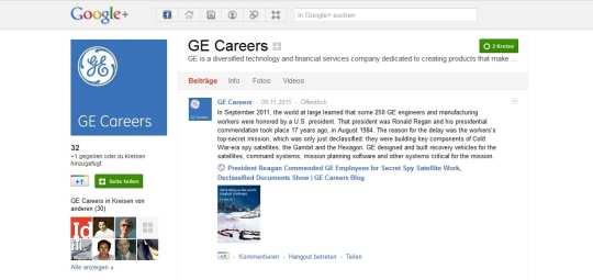 GE Careers auf Google+ - das war wohl nix