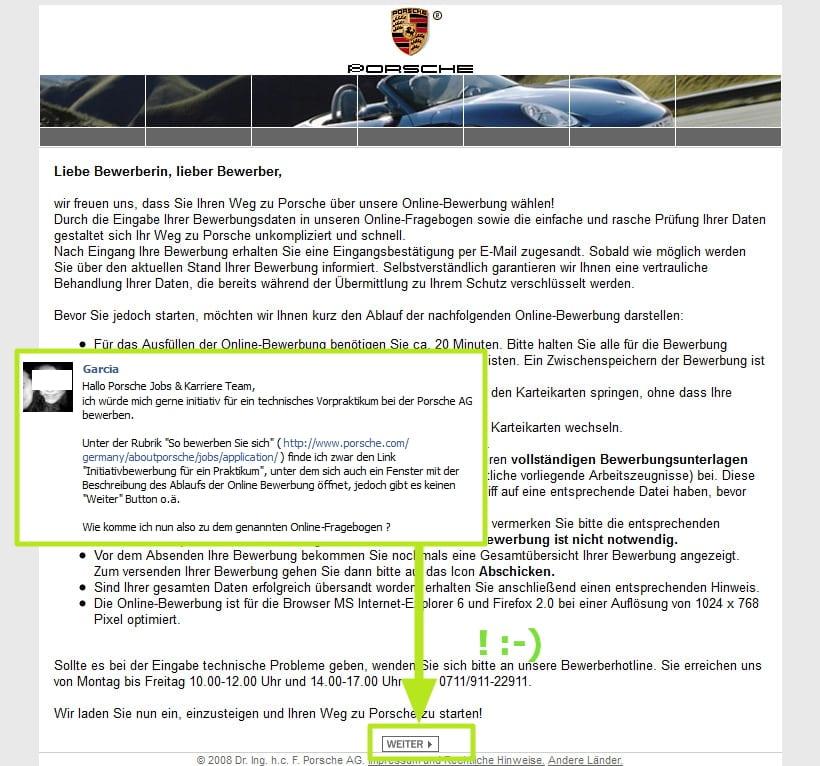 gut versteckt ja wo isser denn der online fragebogen - Bewerbung Porsche