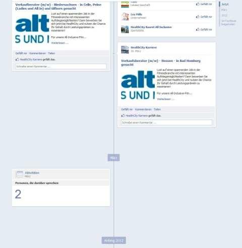 Personalmarketing auf Facebook - hier ist sofort ersichtlich, dass nicht viel auf dieser Seite passiert :) - hier passiert nicht viel auf der Seite