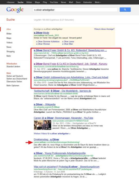 Suchergebnisse zum Stichwort Arbeitgeber am Beispiel von S.Oliver