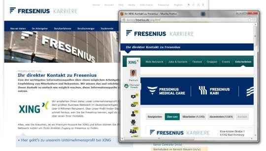 Integration von Xing am Beispiel Fresenius