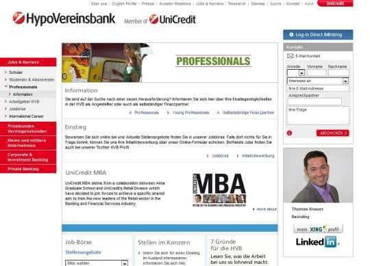 Verknüpfung der Recruiterprofile mit Xing und Linkedin am Beispiel Hypovereinsbank