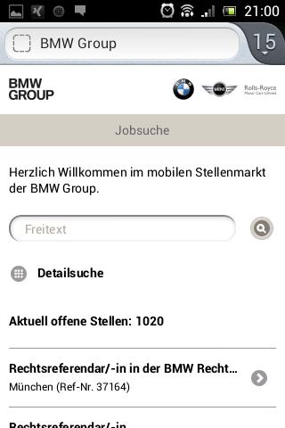 Mobile BMW Jobseite