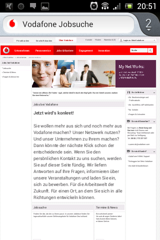 Mobile Karriere-Website Vodafone