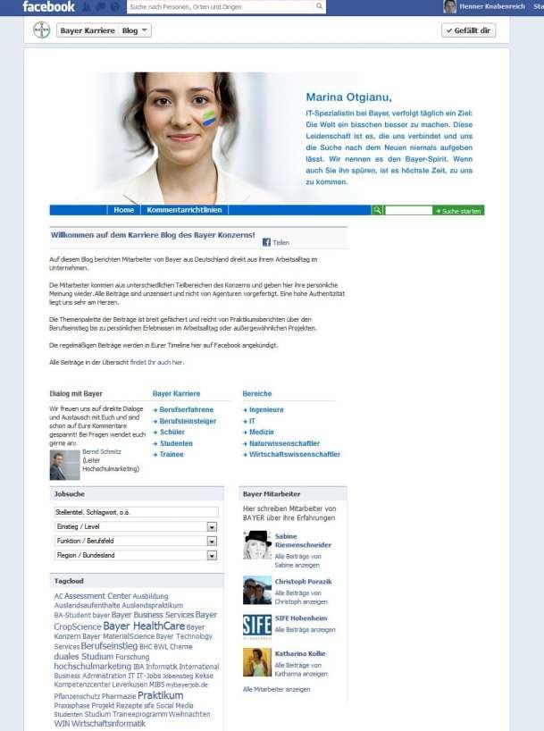 Nicht zu Ende gedachtes Social Media Personalmarketing - der Bayer Karriere-Blog auf Facebook