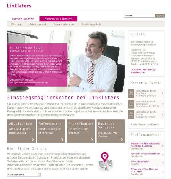 Startseite Karriere Linklaters mit Zielgruppenführung