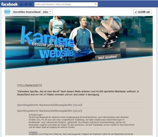 Anzeige der Jobs auf der Decathlon Facebookseite? Fehlanzeige!