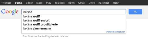 Bettina Wulff bei Google