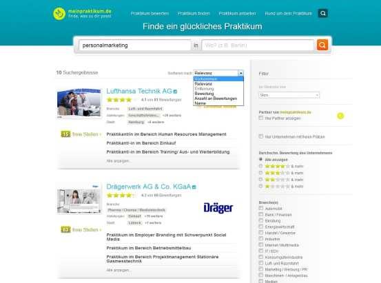 meinpraktikum.de - Anzeige der Suchergebnisse für personalmarketing