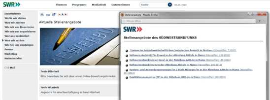 Bewerben beim SWR - Stellenangebote öffnen in separatem Popup