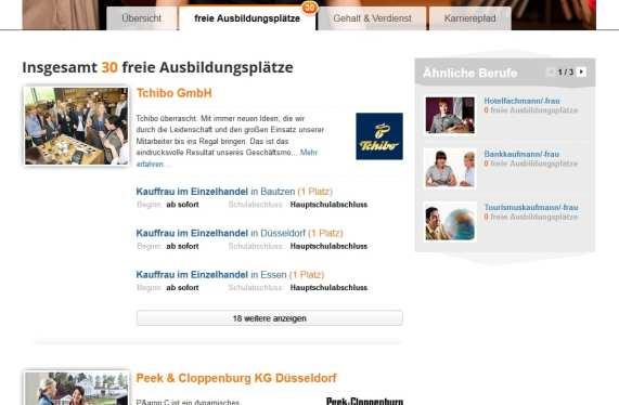 Übersicht der freien Ausbildungsplätze auf ausbildung.de