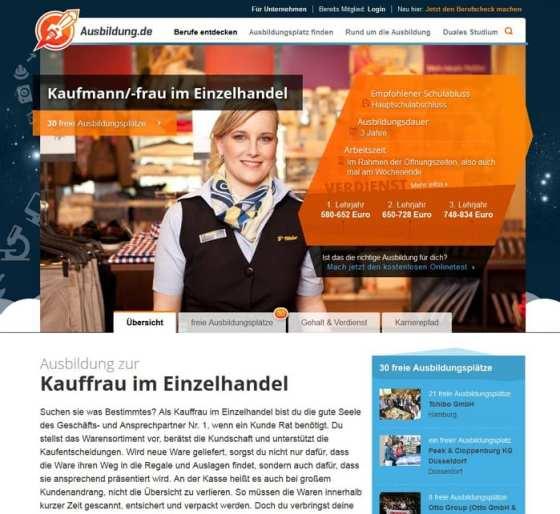 Detailansicht Kaufmann im Einzelhandel auf ausbildung.de