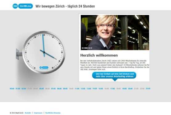 Employer Branding made by VBZ Zürich - 24 Stunden Microsite - 24 Mitarbeiter geben Einblicke in den Arbeitsalltag