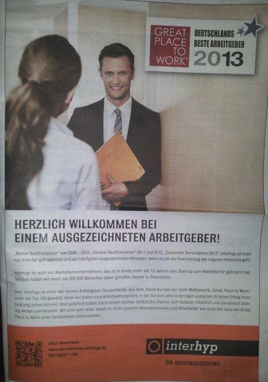 Great Place to Work - Deutschlands bester Arbeitgeber - interhyp Imageanzeige mit QR-Code