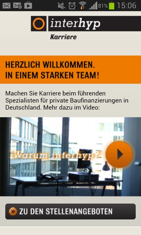 Great Place to Work - Deutschlands bester Arbeitgeber - interhyp mobile Karriereseite