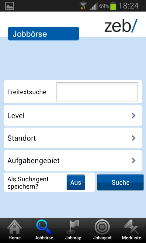Jobbörse der zeb Job App - umfangreiche Filterfunktionen