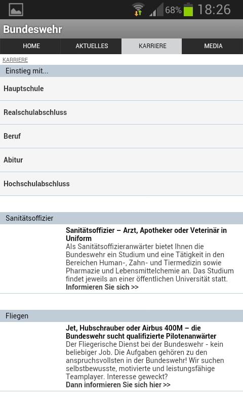 Mobile Job App der Bundeswehr - Informationen zielgruppengerecht aufbereitet