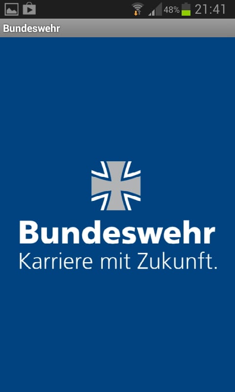 Mobile Recruiting bei der Bundeswehr -Startbildschirm der Job App