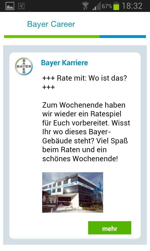Mobile Recruiting mit der Bayer Karriere-App - Verweis auf Facebook überflüssig wie ein Kropf