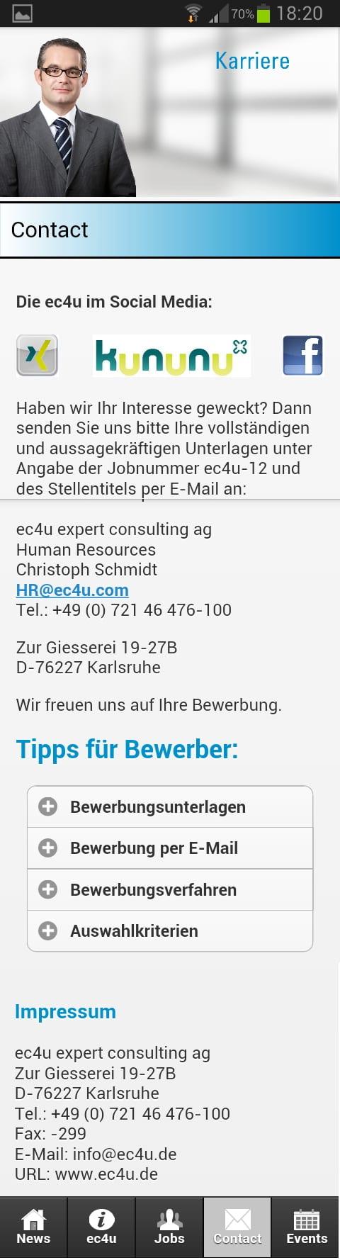 ec4u jobs- Kontaktinformationen und Tipps für Bewerber