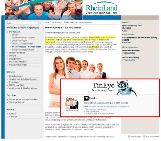 Mitarbeiter als wertvollstes Kapital - warum dann nur Stockfotos, wie bei Rheinland Versicherungen?