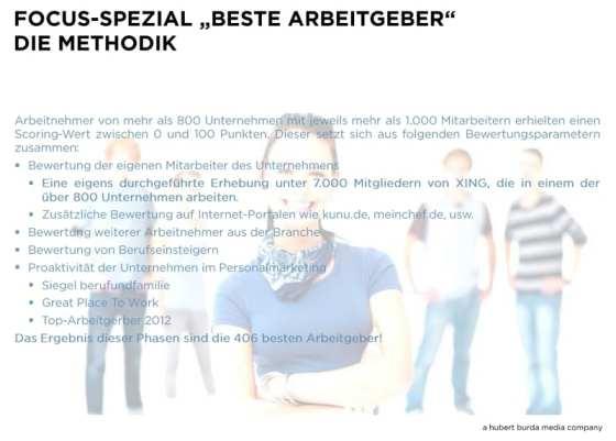 FOCUS-Spezial - Beste Arbeitgeber - Die Methodik 2013 - Quelle hubert burda media company