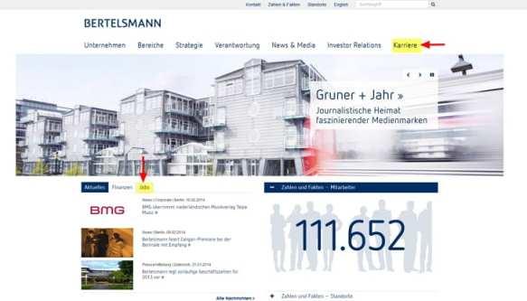 Bertelsmann Website mit Einstieg zu Karriere sowie Jobs
