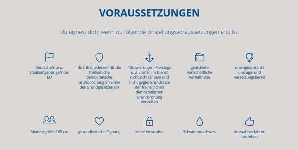 Infos zu den Einstellungsvoraussetzungen auf der Karriere-Website der Polizei Sachsen