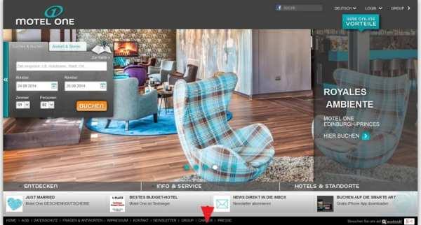 Motel One Homepage - Karriere-Button gut versteckt
