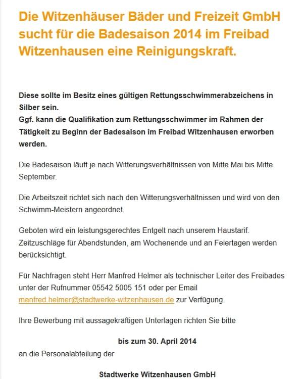 Stadtwerke Witzenhausen - Putzfrau mit Rettungsschwimmerabzeichen gesucht