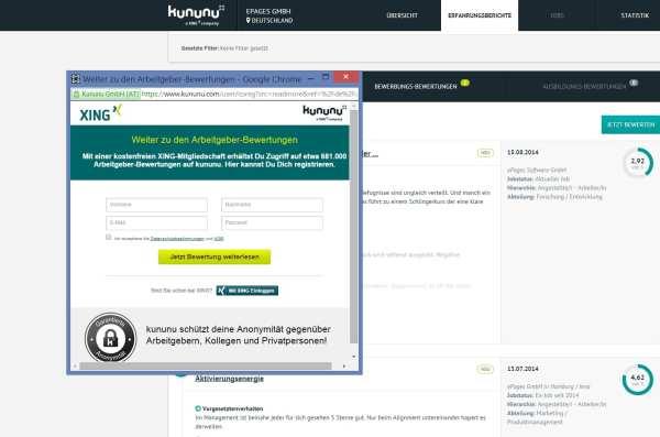 kununu-Bewertungen nur noch via Xing-Mitgliedschaft lesbar