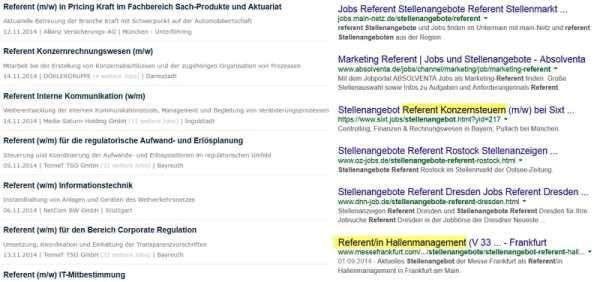 Suchergebnisse nach Stellenangebot Referent auf Jobware und Google