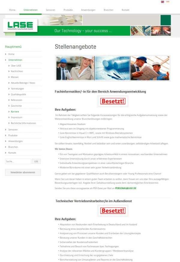 """Gewinner der Goldenen Runkelrübe in der Kategorie Karriere-Website: Die """"Besetzt""""-Seite von LASE"""