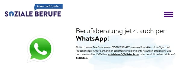 Berufsberatung per Whatsapp - bei Soziale Berufe kann nicht jeder ist das möglich