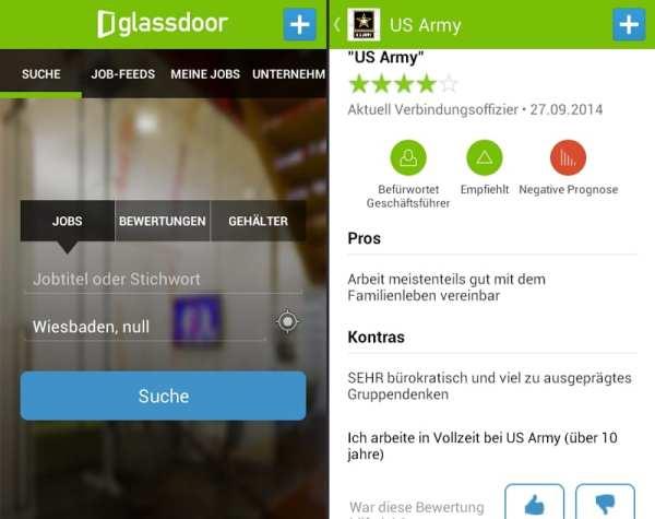 Glassdoor - auch die mobile App kann sich sehen lassen
